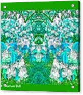 Waxleaf Privet Blooms In Aqua Hue Abstract With Green Frame Acrylic Print
