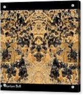 Waxleaf Privet Blooms In Black And White - Color Invert With Golden Tones Abstract Acrylic Print