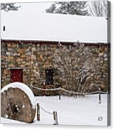 Wayside Inn Grist Mill Covered In Snow Millstone Acrylic Print