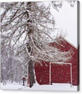 Wayside Inn Red Barn Covered In Snow Storm Reflection Acrylic Print