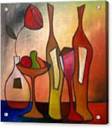 We Can Share - Abstract Wine Art By Fidostudio Acrylic Print by Tom Fedro - Fidostudio