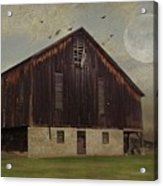 Weathered Barn And Birds Acrylic Print
