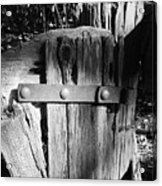Weathered Fence In Black And White Acrylic Print