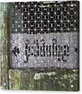 Weathered Green Concrete Doorway With Grille And Obscured Sign P Acrylic Print
