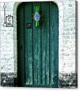 Weathered Green Door Acrylic Print