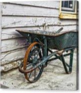 Weathered Green Wheelbarrow Acrylic Print