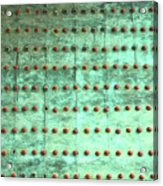 Weathered Metal Rivets With Green Patina Acrylic Print