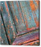 Weathered Orange And Turquoise Door Acrylic Print