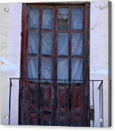 Weathered Red Wood Door Acrylic Print