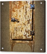 Weathered Rusty Refrigerator Acrylic Print