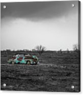Weathered - Old Car In Texas Field Acrylic Print