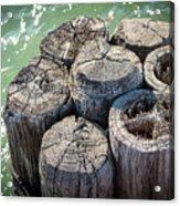 Weathered Wood Pier Posts In Lake Michigan Acrylic Print