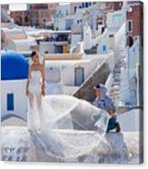 Wedding At Santorini Acrylic Print