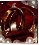 Wedding Bands And Rose Petals Acrylic Print by Tracie Kaska