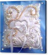 Weding Ring Pillow. Ameynra Design Acrylic Print