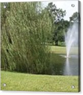 Weeping Willow And Fountain Acrylic Print