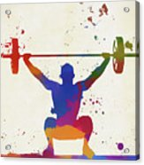 Weightlifter Paint Splatter Acrylic Print