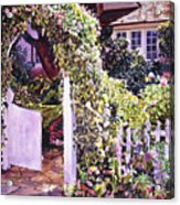 Welcome Rose Covered Gate Acrylic Print
