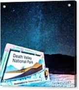 Welcome Sign To Death Valley National Park California At Night Acrylic Print