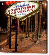 R.i.p. Welcome To Downtown Las Vegas Sign At Night Acrylic Print