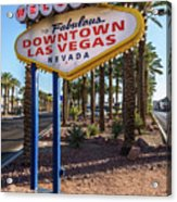 R.i.p. Welcome To Downtown Las Vegas Sign Day Acrylic Print