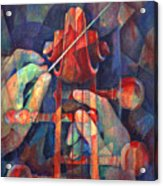 Well Conducted - Painting Of Cello Head And Conductor's Hands Acrylic Print