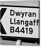 Welsh Rural Roadsign For B Road On Anglesey Wales Uk Acrylic Print