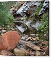 West Fork Trail River And Rock Horizontal Acrylic Print