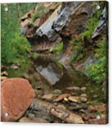 West Fork Trail River And Rock Vertical Acrylic Print by Heather Kirk