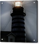 West Quoddy Head Lighthouse Aglow In Silhouette Acrylic Print
