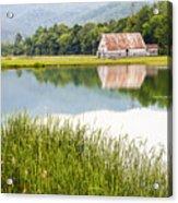 West Virginia Barn Reflected In Pond   Acrylic Print