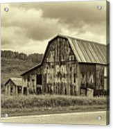 West Virginia Barn Sepia Acrylic Print