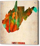 West Virginia Watercolor Map Acrylic Print by Naxart Studio