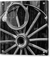 Western Rope And Wooden Wheel In Black And White Acrylic Print