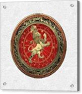 Western Zodiac - Golden Leo - The Lion On White Leather Acrylic Print