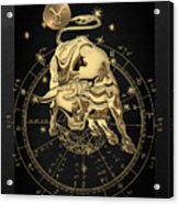 Western Zodiac - Golden Taurus - The Bull On Black Canvas Acrylic Print