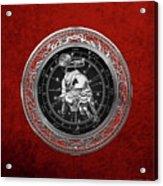 Western Zodiac - Silver Taurus - The Bull On Red Velvet Acrylic Print