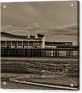 Weston  Super Mare   Outflow  Pier  Black  White Acrylic Print