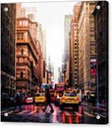 Wet Streets Of New York City Acrylic Print