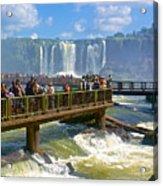 Wet Walkways In The Iguazu River In Iguazu Falls National Park-brazil  Acrylic Print
