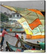 Whatever It Takes - Makeshift Sail At Tema Harbor Acrylic Print