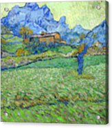 Wheat Fields In A Mountainous Landscape, By Vincent Van Gogh, 18 Acrylic Print