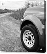 Wheel Of Small 4x4 Vehicle Driving On Gravel Road Onto Main Road Reykjavik Iceland Acrylic Print