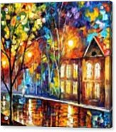 When The City Sleeps 2 - Palette Knife Oil Painting On Canvas By Leonid Afremov Acrylic Print