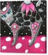 Whimsical Black Pink Floral Kitty Cat Acrylic Print