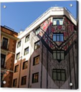 Whimsical Madrid - A Building Draped In Traditional Spanish Mantilla Acrylic Print