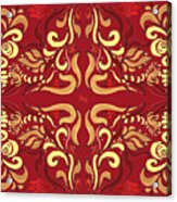 Whimsical Organic Pattern In Yellow And Red I Acrylic Print