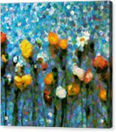 Whimsical Poppies On The Blue Wall Acrylic Print