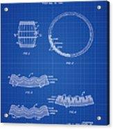 Whiskey Barrel Patent 1968 In Blue Print Acrylic Print