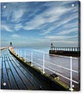 Whitby Piers Acrylic Print
